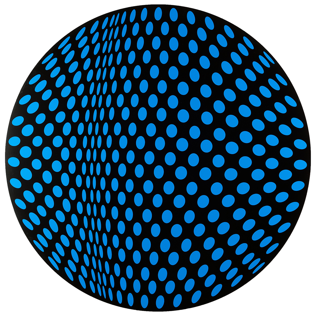 353 Untitled (Moving Line in Circle Blue on Black)